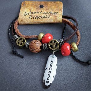 Shannon Wrap Bracelet Brown Leather Personalized